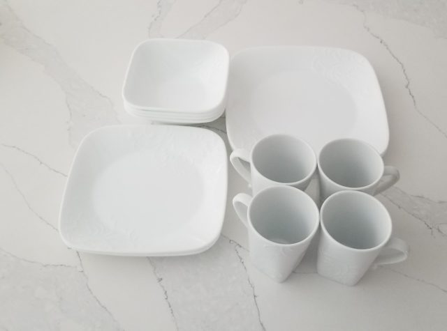 Corelle Dinnerware Plates, bowls and mugs
